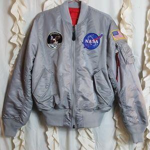 Alpha Industries silver NASA bomber jacket
